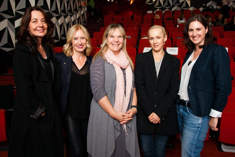 Sonya Pemberton, Sandra Sdraulig AM, Lori Flekser, Cheryl Mulholland, Stephanie Mills at NMF Brilliant Careers Leadership Conference