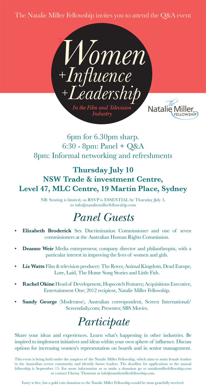 Invitation to the Natalie Miller Fellowship event Women + Influence + Leadership in the Film and Television Industry